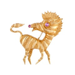 Cartier Yellow Gold Ruby Zebra Brooch