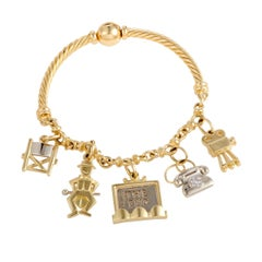 Pomelatto Diamond Charm Gold Bangle Bracelet