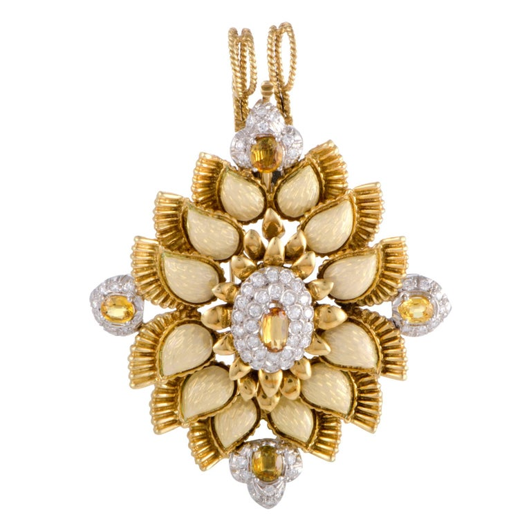 Cartier Diamond and Yellow Sapphire Enameled Gold Pendant or Brooch