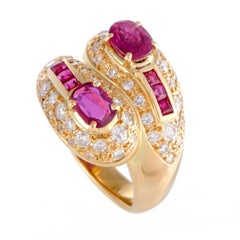 Diamond and Ruby Yellow Gold Bypass Band Ring