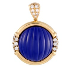 Diamond Pave and Lapis Lazuli Yellow Gold Round Pendant