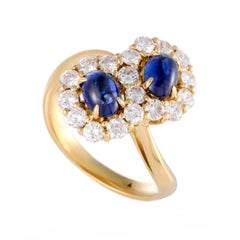 Diamond and Sapphire Flowers Yellow Gold Ring