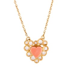 Van Cleef & Arpels Diamond and Coral Heart Yellow Gold Pendant Necklace
