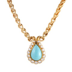 Van Cleef & Arpels Diamond and Turquoise Yellow Gold Pendant Collar Necklace
