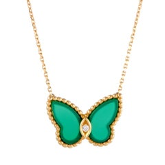 Van Cleef & Arpels Diamond and Green Chalcedony Butterfly Gold Pendant Necklace