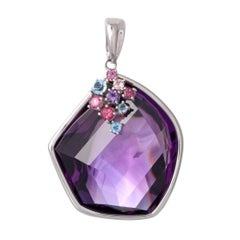 Amethyst Pink Tourmaline and Topaz Gold Pendant