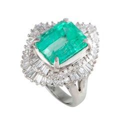 Diamond and Emerald Platinum Cocktail Ring