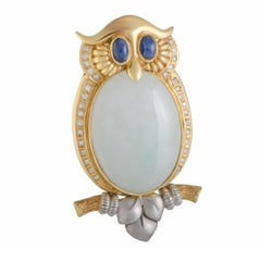 Diamond Sapphire and White Jade Owl Gold Pendant or Brooch