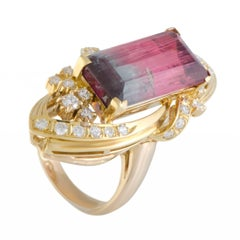 Diamond and Tourmaline Gold Ring