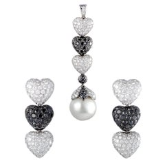 de Grisogono Diamond Pave and Pearl White Gold Earrings and Pendant Set