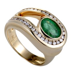 Charles Krypell Diamond and Emerald Gold Loop Ring