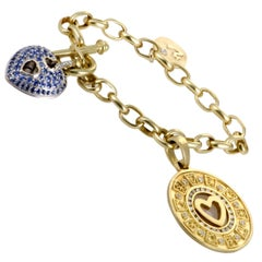 Marlene Stow Diamond and Sapphire Gold Charm Bracelet