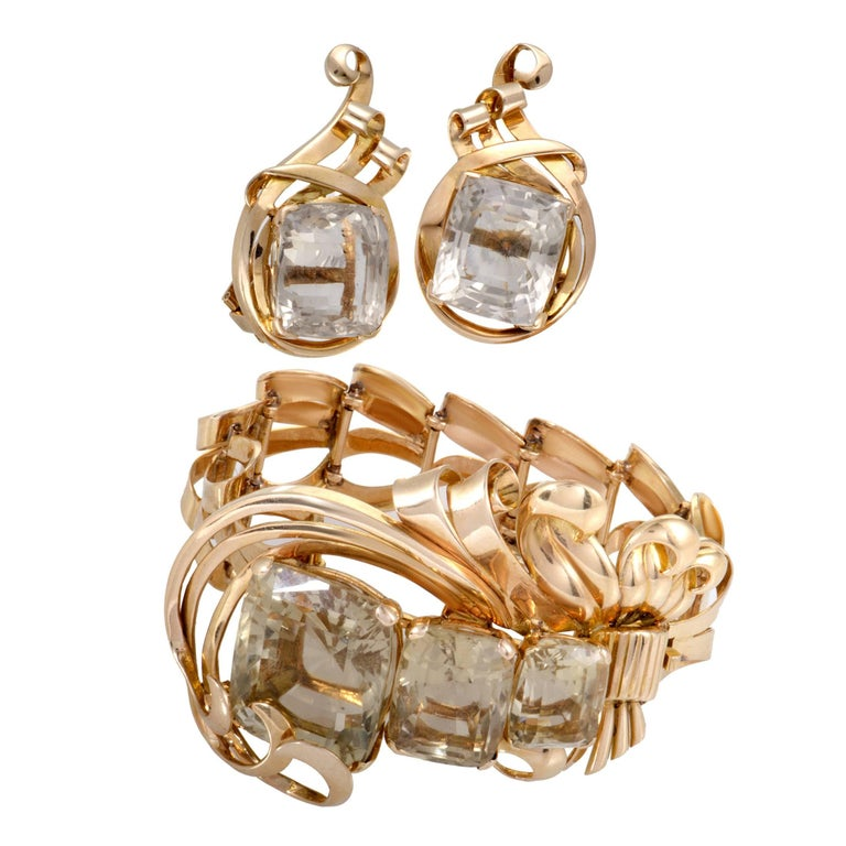 Citrine and Gold Bracelet and Earring Set