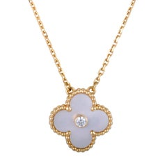 Van Cleef & Arpels Alhambra Diamond and Mother-of-Pearl Gold Pendant Necklace