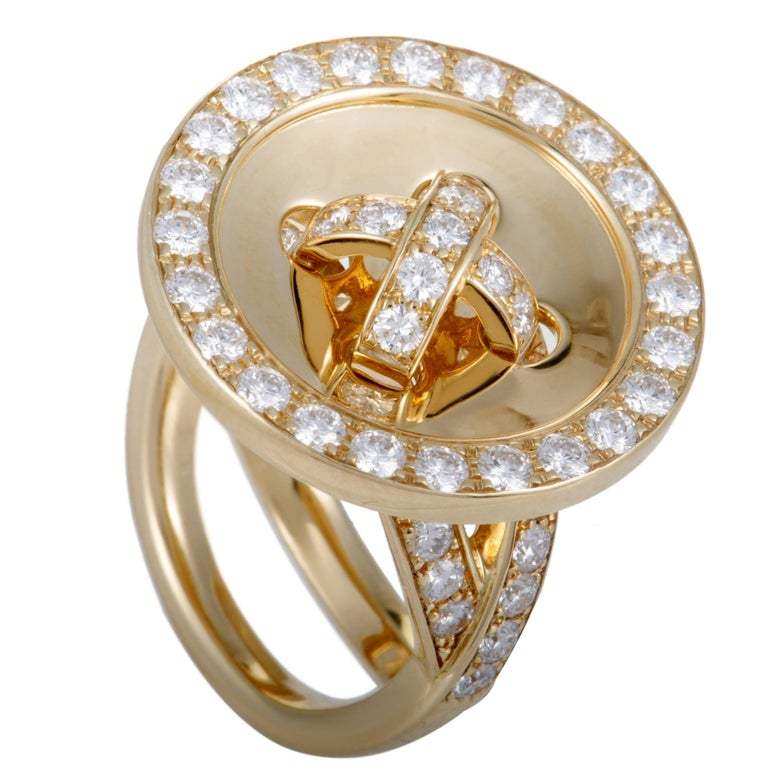 Van Cleef & Arpels Diamond and Gold Button Ring