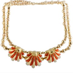 Rossetti Coral Shells Yellow Gold Collar Necklace