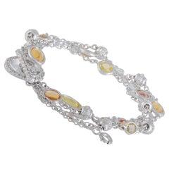 Favero Diamond Clear Quartz and Citrine White Gold Multi-Chain Toggle Bracelet