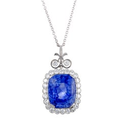 Diamond Pave Large Cushion Sapphire White Gold Pendant Necklace