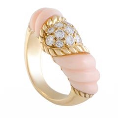 Boucheron Diamond Pave and Pink Coral Gold Band Ring