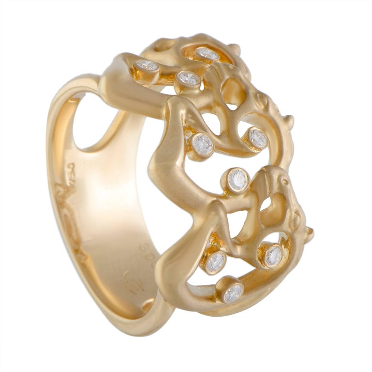Carrera y Carrera Ecuestre Diamond and Gold Band Ring