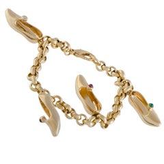 Mauboussin Multi Gemstone Dainty Slipper Gold Charm Bracelet