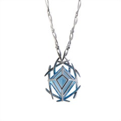 Diamond Pave, Topaz Large Hexagon Gold Pendant Necklace