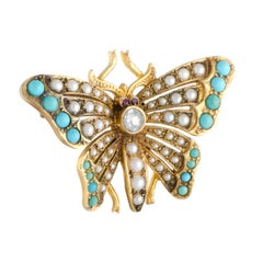Diamond Pearl and Turquoise Gold Butterfly Brooch