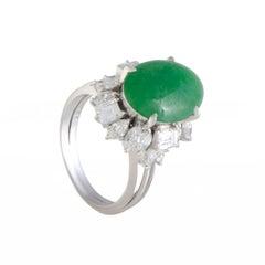 Diamond and Jade Platinum Ring