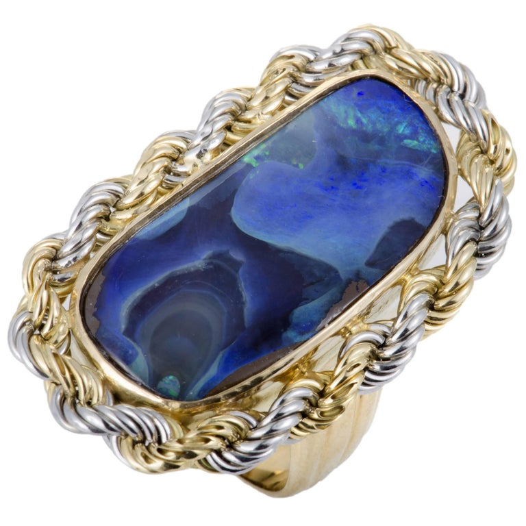 Opal and Gold Cocktail Ring For Sale