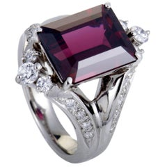 Diamond and Garnet Platinum Ring