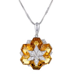 Diamond and Citrine Flower Pendant White Gold Necklace