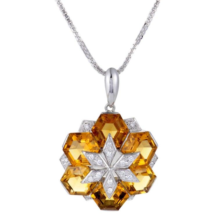 Diamond and Citrine Flower Pendant White Gold Necklace