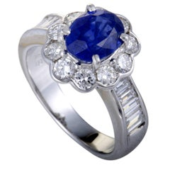 Diamond and Oval Sapphire Gold Ring