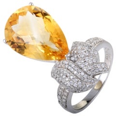 Diamond Pave Pear Shaped Citrine White Gold Cocktail Ring