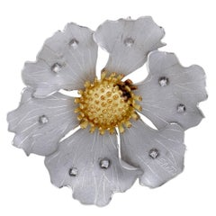 Diamond and Gold Flower Pendant or Brooch