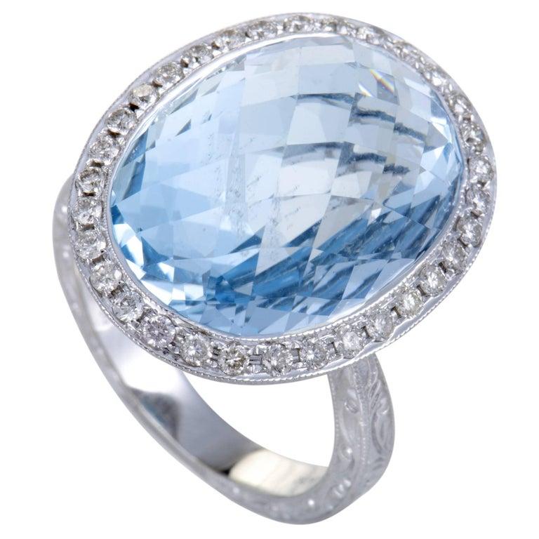 Diamond and Aquamarine Gold Cocktail Ring