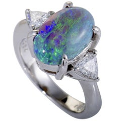 Trillion Cut Diamonds and Green Opal Platinum Ring