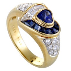 Diamond Pave and Sapphire Heart Yellow Gold Ring