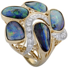Diamonds and Opals Gold Cluster Ring