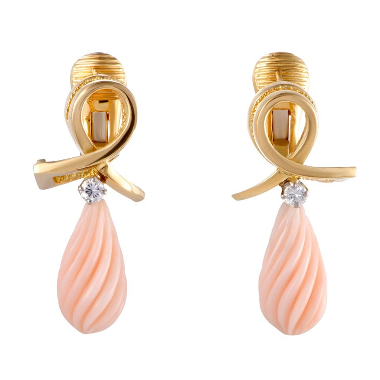 Tiffany & Co. Diamond and Coral Gold Teardrop Drop Earrings