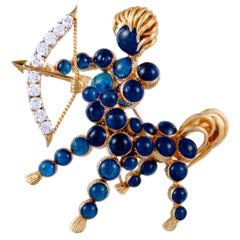 Cartier Diamond and Blue Stone Yellow Gold Sagittarius Brooch