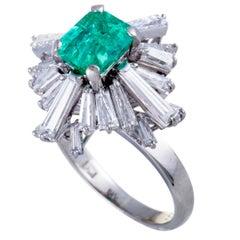 Emerald and Diamond Baguette Platinum Cocktail Ring