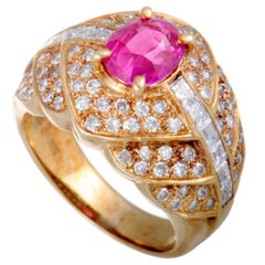 Ruby and Diamond Gold Bombe Band Ring