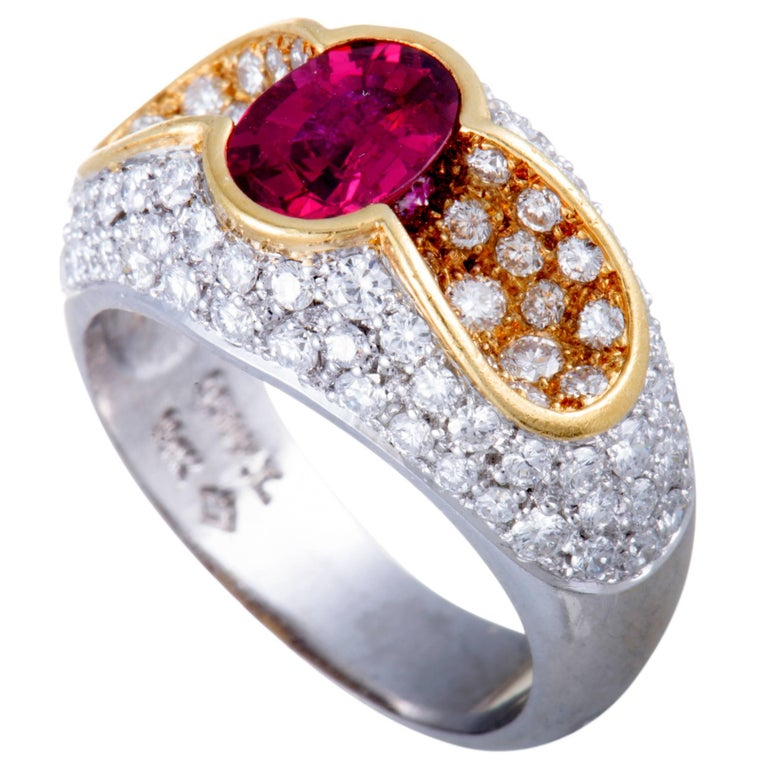 Ruby and Diamond Platinum and Gold Band Ring
