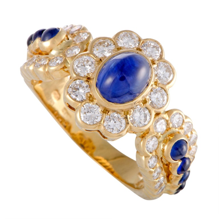Graff Sapphire and Diamond Gold Floral Band Ring