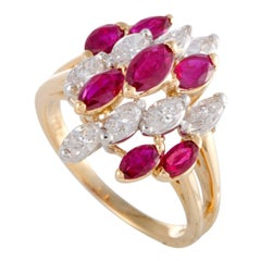 Oscar Heyman Ruby and Diamond White Gold Cluster Ring