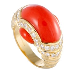 Picchiotti Coral and Diamond Gold Band Ring