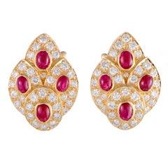 Van Cleef & Arpels Ruby and Diamond Gold Earrings