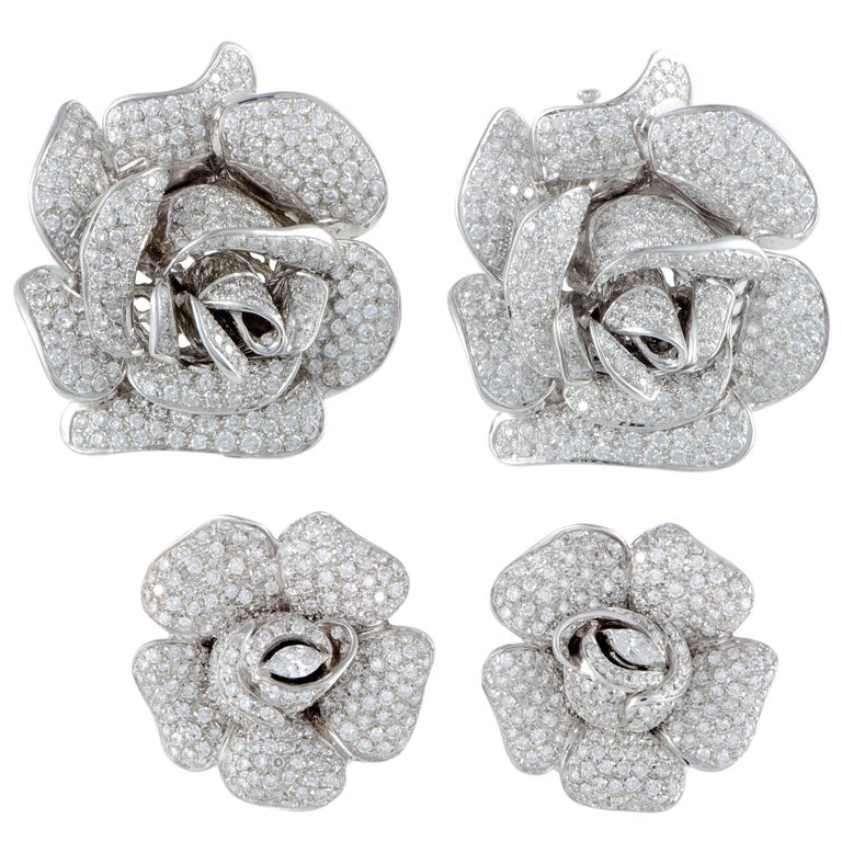 Diamond Pave White Gold Rose Brooches and Earrings Set