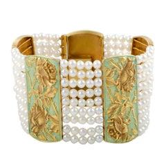 Floral Enameled White Pearl Gold Bracelet